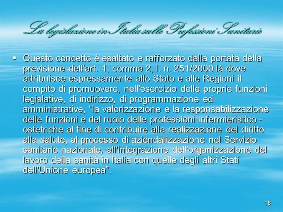18 La legislazione in Italia sulle Professioni Sanitarie Questo concetto è esaltato e rafforzato dalla portata della previsione dellart. 1, comma 2, l