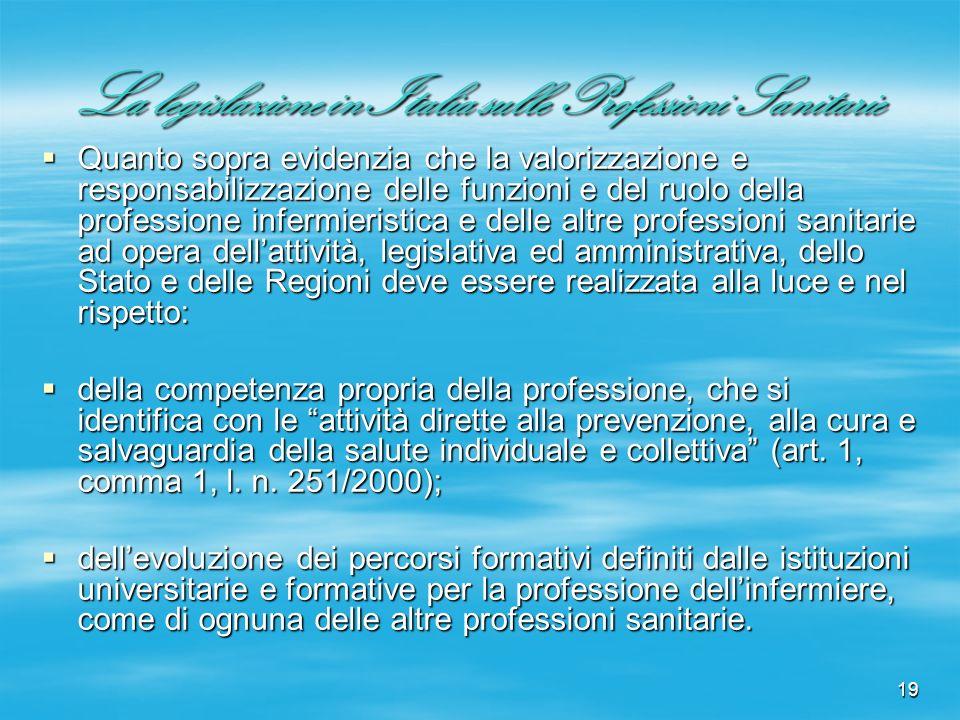 19 La legislazione in Italia sulle Professioni Sanitarie Quanto sopra evidenzia che la valorizzazione e responsabilizzazione delle funzioni e del ruol