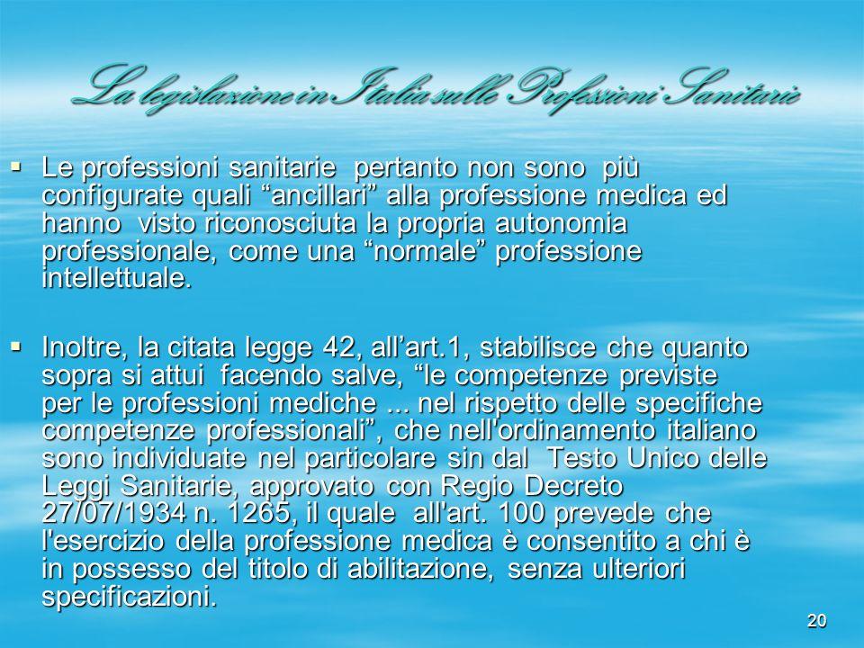20 La legislazione in Italia sulle Professioni Sanitarie Le professioni sanitarie pertanto non sono più configurate quali ancillari alla professione m