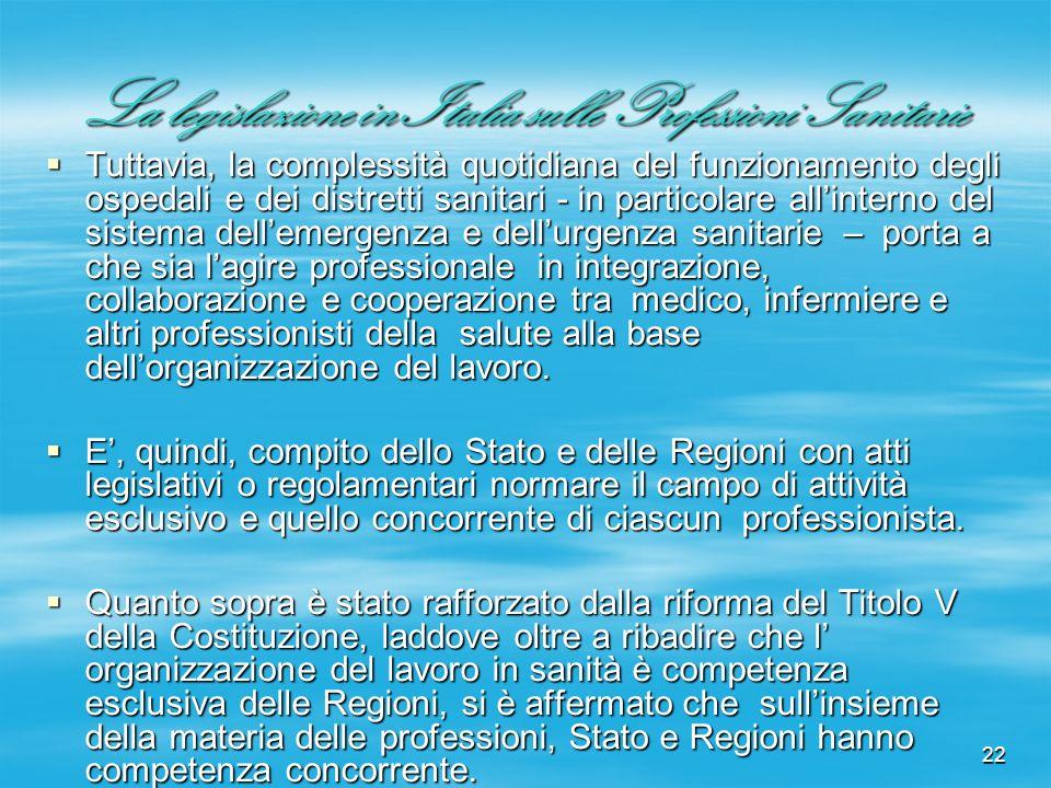 22 La legislazione in Italia sulle Professioni Sanitarie Tuttavia, la complessità quotidiana del funzionamento degli ospedali e dei distretti sanitari