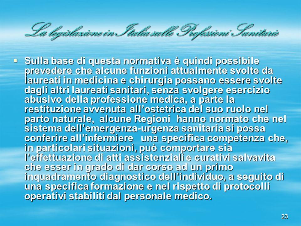 23 La legislazione in Italia sulle Professioni Sanitarie Sulla base di questa normativa è quindi possibile prevedere che alcune funzioni attualmente s