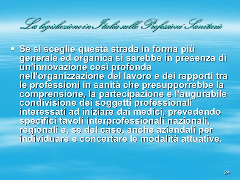 24 La legislazione in Italia sulle Professioni Sanitarie Se si sceglie questa strada in forma più generale ed organica si sarebbe in presenza di uninn