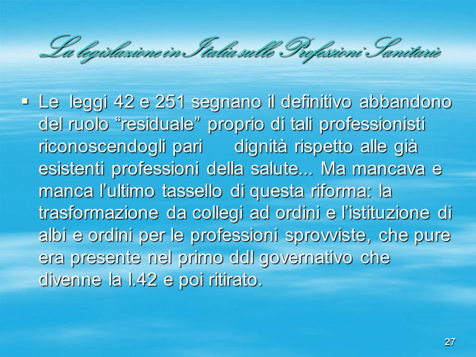 27 La legislazione in Italia sulle Professioni Sanitarie Le leggi 42 e 251 segnano il definitivo abbandono del ruolo residuale proprio di tali profess