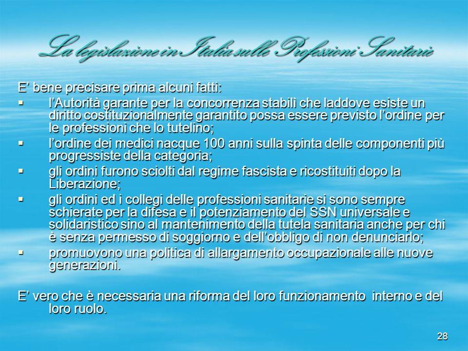 28 La legislazione in Italia sulle Professioni Sanitarie E bene precisare prima alcuni fatti: lAutorità garante per la concorrenza stabilì che laddove
