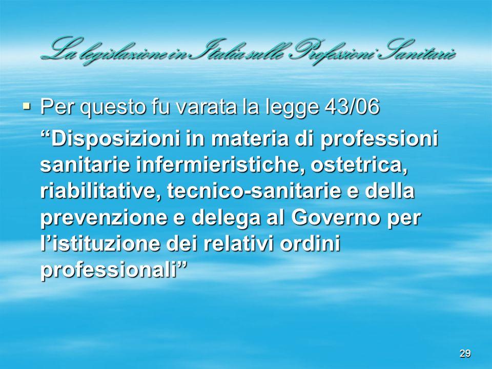 29 La legislazione in Italia sulle Professioni Sanitarie Per questo fu varata la legge 43/06 Per questo fu varata la legge 43/06 Disposizioni in mater