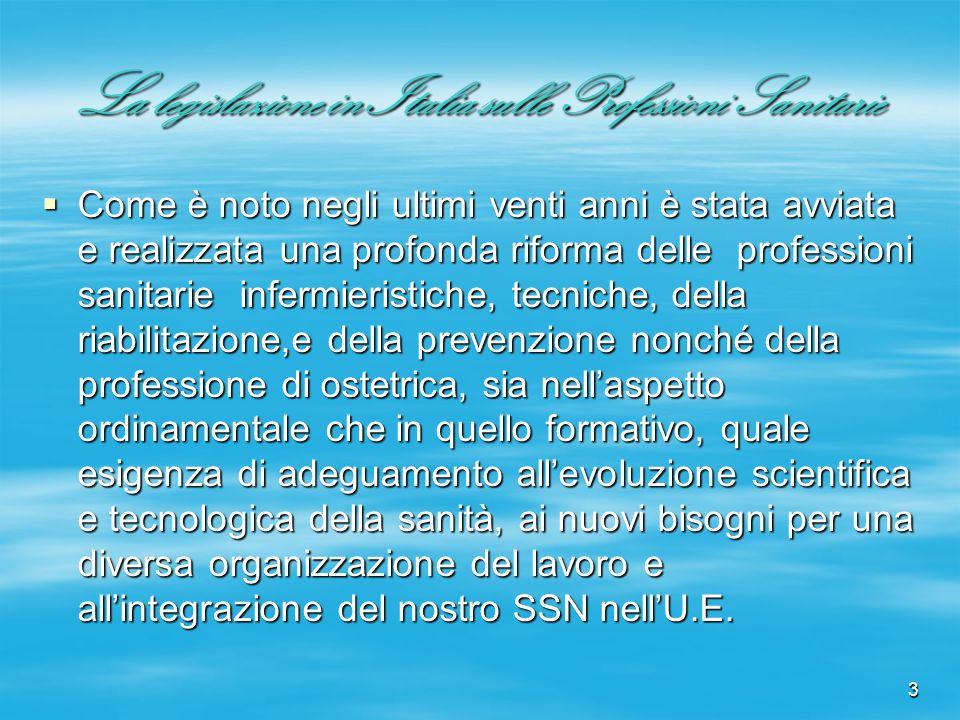 3 La legislazione in Italia sulle Professioni Sanitarie Come è noto negli ultimi venti anni è stata avviata e realizzata una profonda riforma delle pr