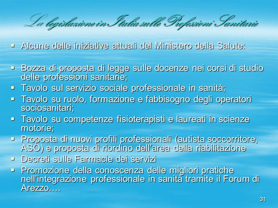 31 La legislazione in Italia sulle Professioni Sanitarie Alcune delle iniziative attuali del Ministero della Salute: Alcune delle iniziative attuali d