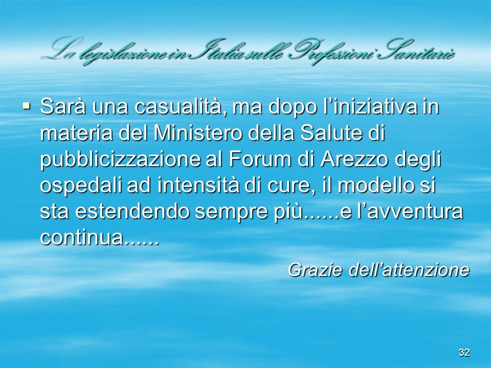 32 La legislazione in Italia sulle Professioni Sanitarie Sarà una casualità, ma dopo liniziativa in materia del Ministero della Salute di pubblicizzaz