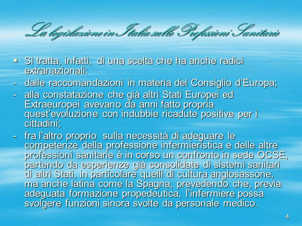 4 La legislazione in Italia sulle Professioni Sanitarie Si tratta, infatti, di una scelta che ha anche radici extranazionali: Si tratta, infatti, di u