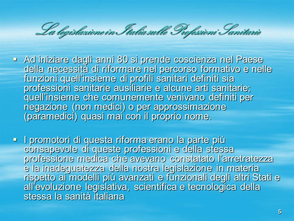 5 La legislazione in Italia sulle Professioni Sanitarie Ad iniziare dagli anni 80 si prende coscienza nel Paese della necessità di riformare nel perco