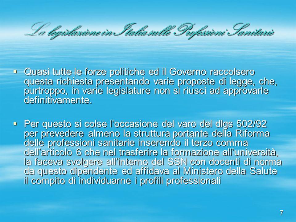 7 La legislazione in Italia sulle Professioni Sanitarie Quasi tutte le forze politiche ed il Governo raccolsero questa richiesta presentando varie pro