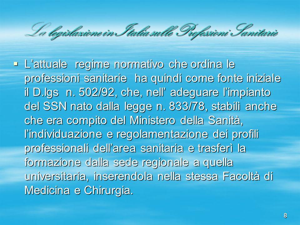 8 La legislazione in Italia sulle Professioni Sanitarie Lattuale regime normativo che ordina le professioni sanitarie ha quindi come fonte iniziale il