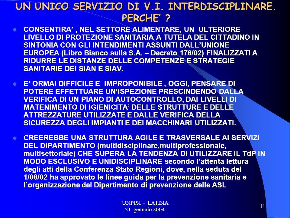 UNPISI - LATINA 31 gennaio 2004 11 UN UNICO SERVIZIO DI V.I.