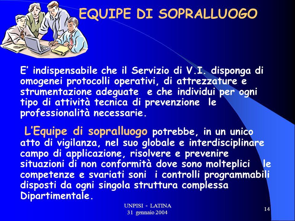 UNPISI - LATINA 31 gennaio 2004 14 EQUIPE DI SOPRALLUOGO E indispensabile che il Servizio di V.I.