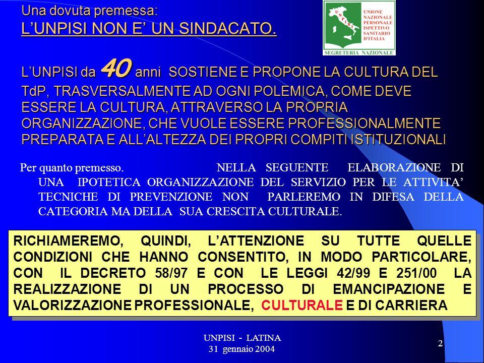 UNPISI - LATINA 31 gennaio 2004 13 SETTORI DI ATTIVITA DEL SERVIZIO DI V.I.