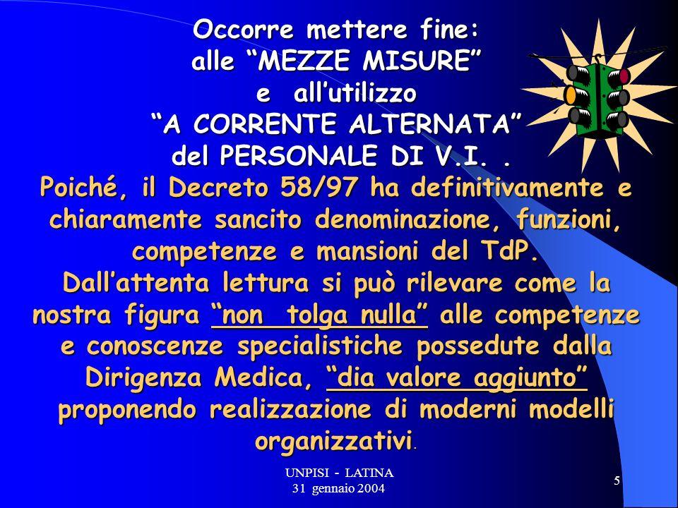 UNPISI - LATINA 31 gennaio 2004 5 Occorre mettere fine: alle MEZZE MISURE e allutilizzo A CORRENTE ALTERNATA del PERSONALE DI V.I..