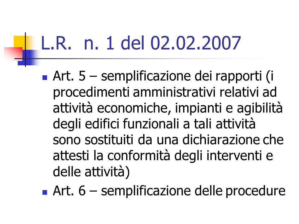 L.R. n. 1 del 02.02.2007 Art.