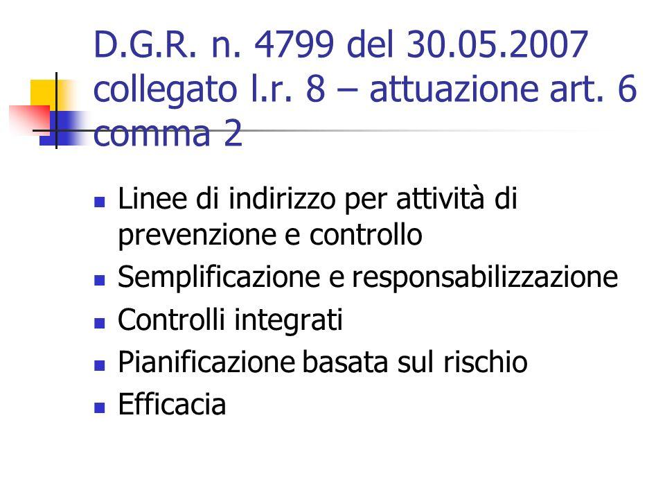 D.G.R. n. 4799 del 30.05.2007 collegato l.r. 8 – attuazione art.