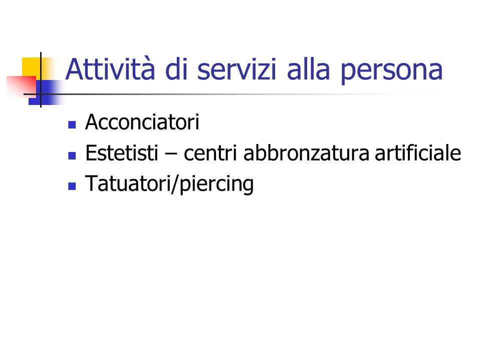 Attività di servizi alla persona Acconciatori Estetisti – centri abbronzatura artificiale Tatuatori/piercing