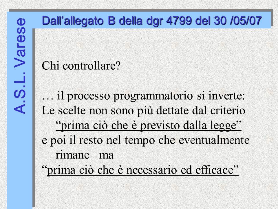 A.S.L. Varese Dallallegato B della dgr 4799 del 30 /05/07 Chi controllare.