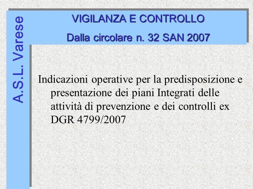 A.S.L. Varese VIGILANZA E CONTROLLO Dalla circolare n.