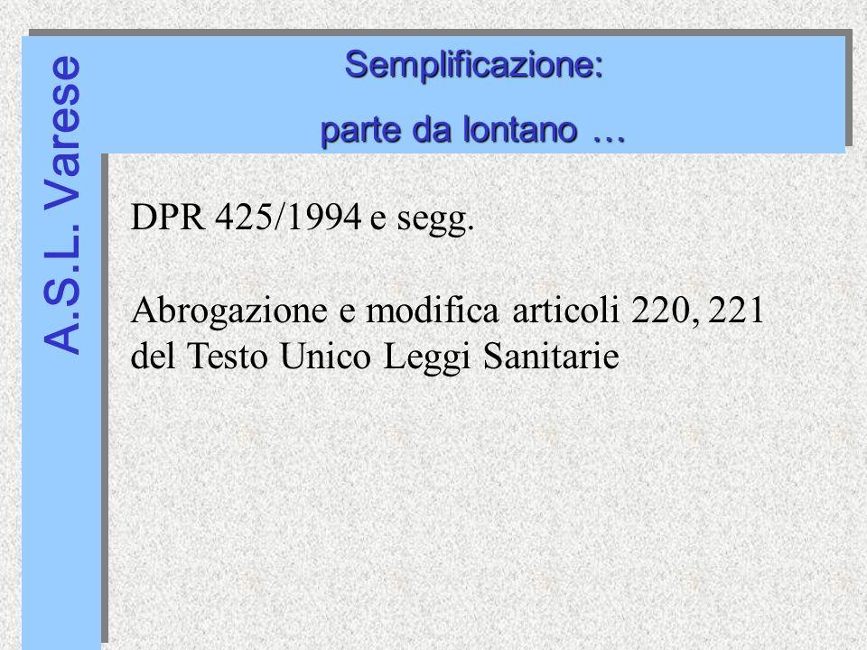 A.S.L. Varese Semplificazione: parte da lontano … Semplificazione: DPR 425/1994 e segg.