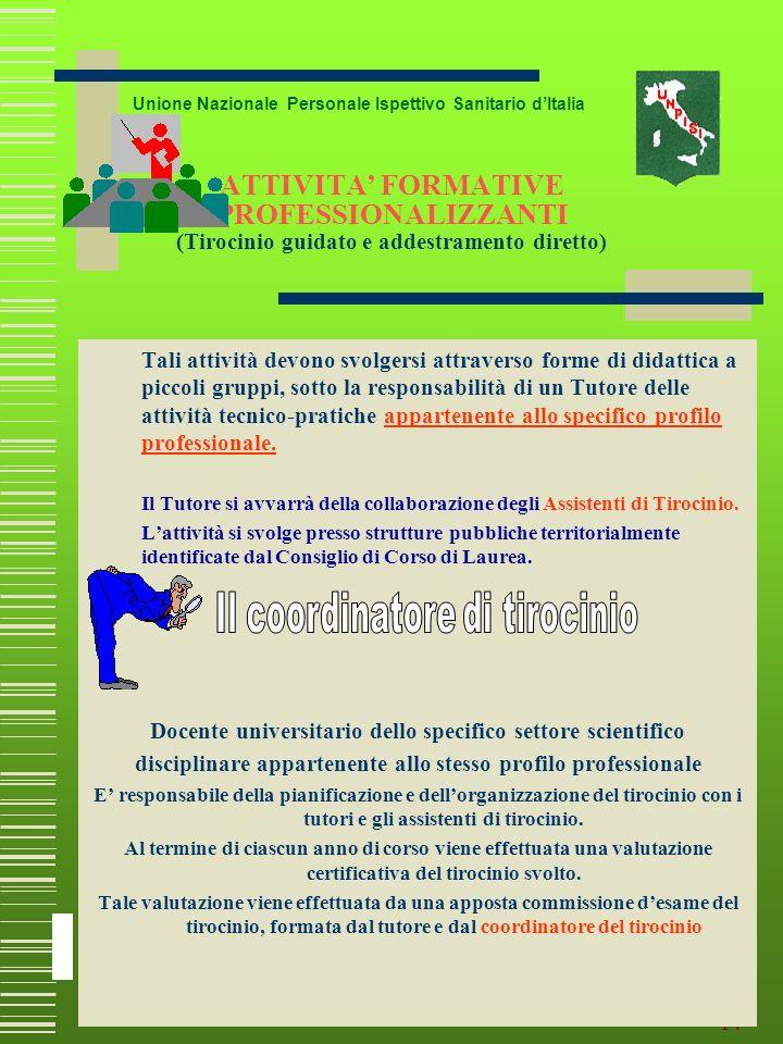 13 UNIVERSITA LAUREA T.d.P. Unione Nazionale Personale Ispettivo Sanitario dItalia Attività Didattica Formale (ADF) Il Consiglio della struttura Didat