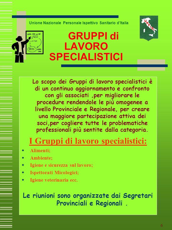 5 Unione Nazionale Personale Ispettivo Sanitario dItalia Vengono istituiti in Regione Emilia Romagna le prime segreterie provinciali: Parma Reggio Emi