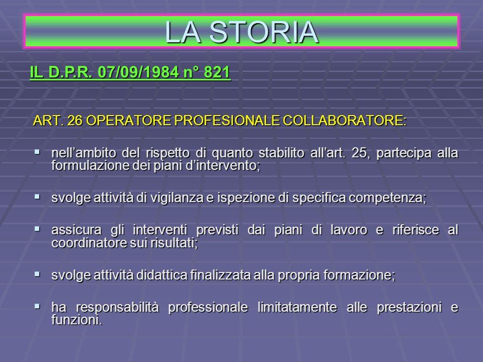 ART. 26 OPERATORE PROFESIONALE COLLABORATORE: nellambito del rispetto di quanto stabilito allart. 25, partecipa alla formulazione dei piani dintervent