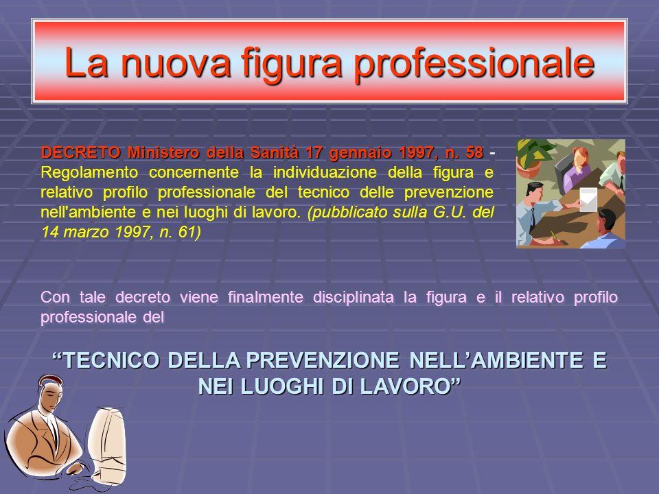 La nuova figura professionale DECRETO Ministero della Sanità 17 gennaio 1997, n. 58 DECRETO Ministero della Sanità 17 gennaio 1997, n. 58 - Regolament