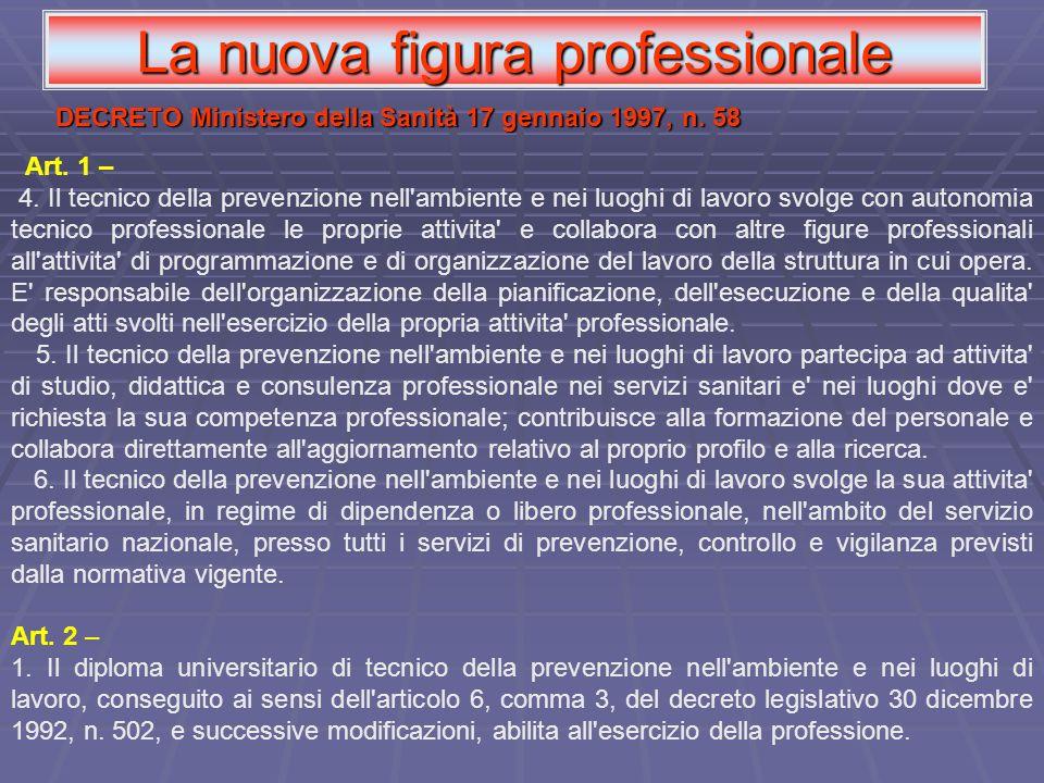 Art. 1 – 4. Il tecnico della prevenzione nell'ambiente e nei luoghi di lavoro svolge con autonomia tecnico professionale le proprie attivita' e collab