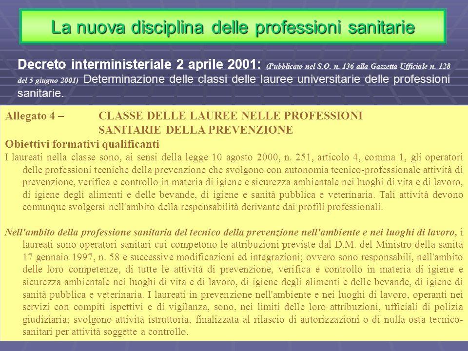 Allegato 4 – CLASSE DELLE LAUREE NELLE PROFESSIONI SANITARIE DELLA PREVENZIONE Obiettivi formativi qualificanti I laureati nella classe sono, ai sensi