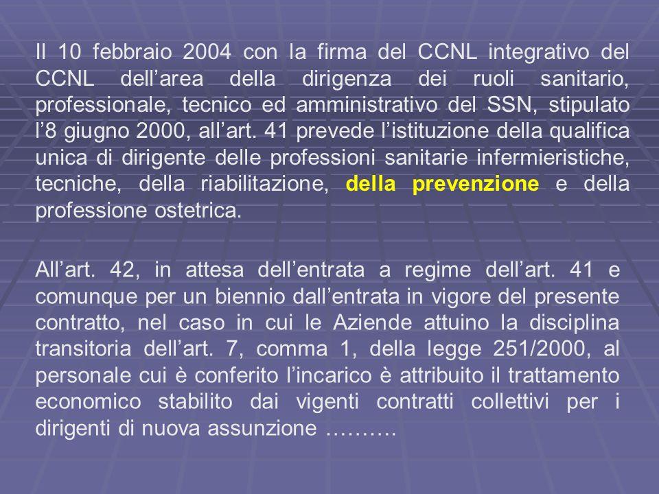 Il 10 febbraio 2004 con la firma del CCNL integrativo del CCNL dellarea della dirigenza dei ruoli sanitario, professionale, tecnico ed amministrativo