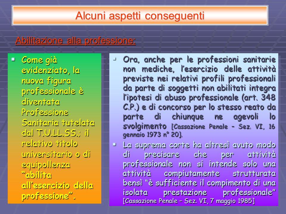 Alcuni aspetti conseguenti Abilitazione alla professione: Come già evidenziato, la nuova figura professionale è diventata Professione Sanitaria tutela
