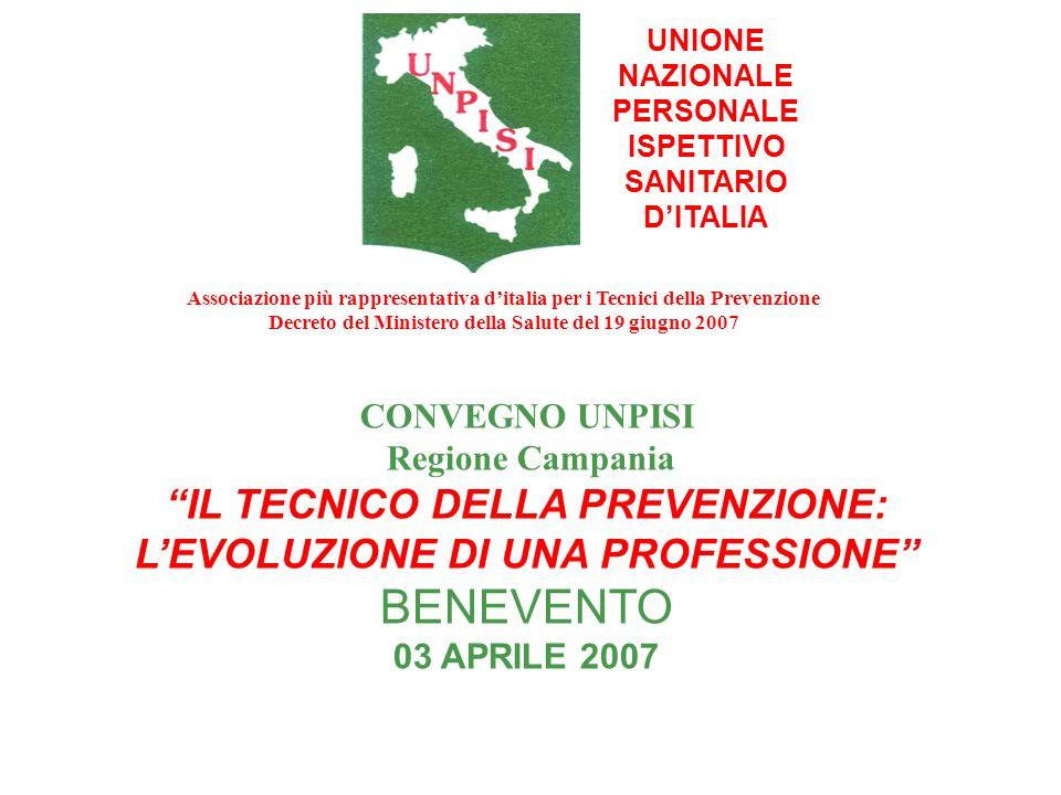 UNIONE NAZIONALE PERSONALE ISPETTIVO SANITARIO DITALIA CONVEGNO UNPISI Regione Campania IL TECNICO DELLA PREVENZIONE: LEVOLUZIONE DI UNA PROFESSIONE B