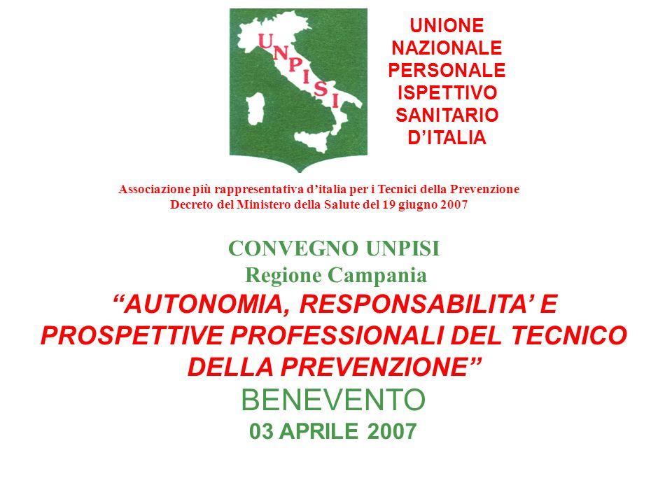 UNIONE NAZIONALE PERSONALE ISPETTIVO SANITARIO DITALIA CONVEGNO UNPISI Regione Campania AUTONOMIA, RESPONSABILITA E PROSPETTIVE PROFESSIONALI DEL TECN