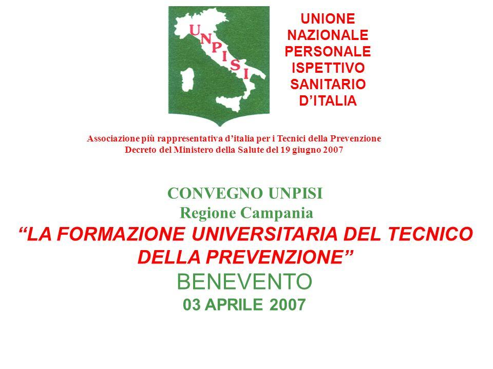 UNIONE NAZIONALE PERSONALE ISPETTIVO SANITARIO DITALIA CONVEGNO UNPISI Regione Campania LA FORMAZIONE UNIVERSITARIA DEL TECNICO DELLA PREVENZIONE BENE