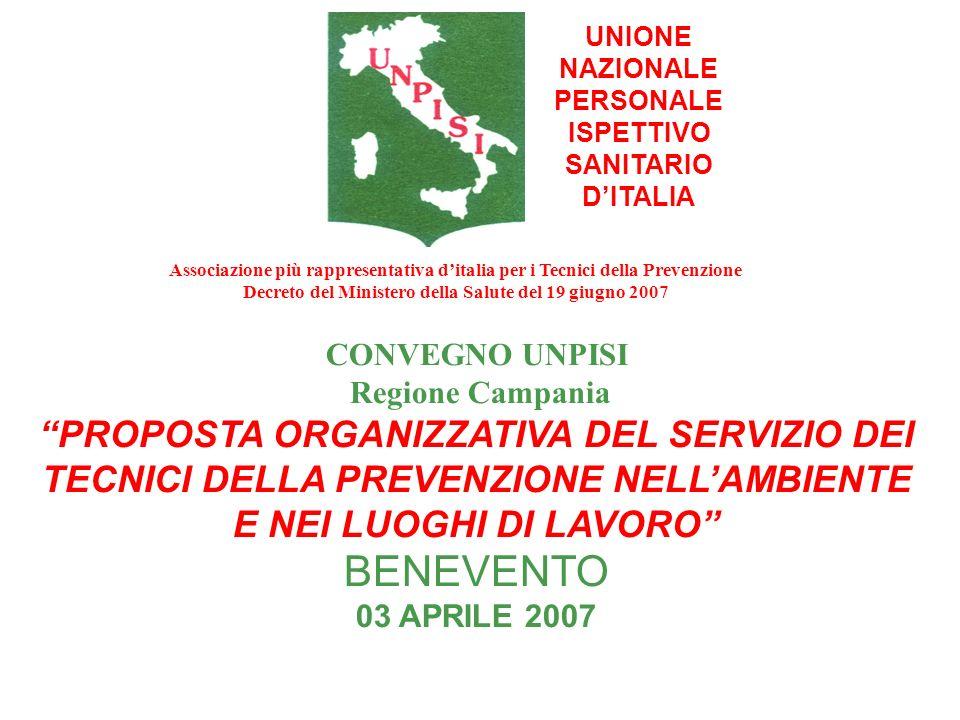 UNIONE NAZIONALE PERSONALE ISPETTIVO SANITARIO DITALIA CONVEGNO UNPISI Regione Campania PROPOSTA ORGANIZZATIVA DEL SERVIZIO DEI TECNICI DELLA PREVENZI
