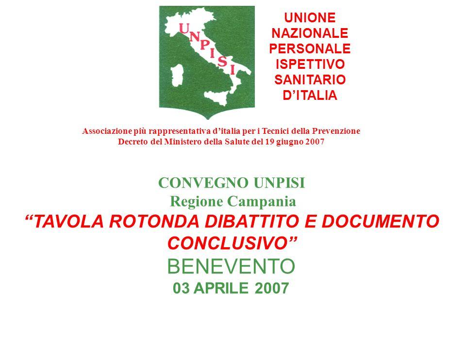 UNIONE NAZIONALE PERSONALE ISPETTIVO SANITARIO DITALIA CONVEGNO UNPISI Regione Campania TAVOLA ROTONDA DIBATTITO E DOCUMENTO CONCLUSIVO BENEVENTO 03 A