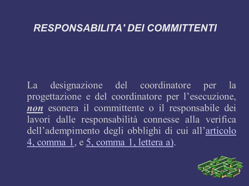 RESPONSABILITA DEI COMMITTENTI Obblighi del coordinatore per l esecuzione (estratto art.