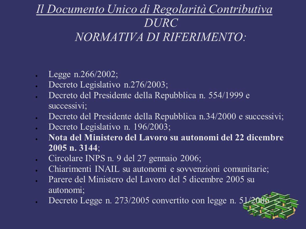 Il Documento Unico di Regolarità Contributiva DURC NORMATIVA DI RIFERIMENTO: Legge n.266/2002; Decreto Legislativo n.276/2003; Decreto del Presidente