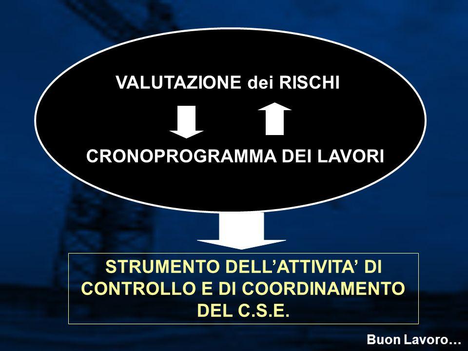 VALUTAZIONE dei RISCHI CRONOPROGRAMMA DEI LAVORI STRUMENTO DELLATTIVITA DI CONTROLLO E DI COORDINAMENTO DEL C.S.E.