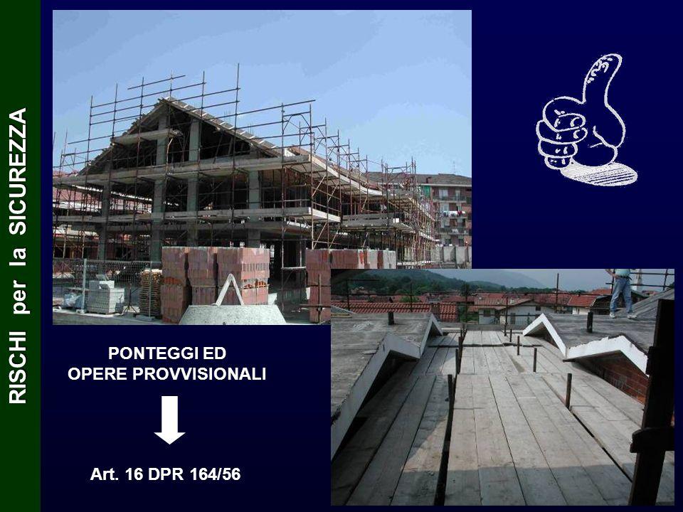 PONTEGGI ED OPERE PROVVISIONALI Art. 16 DPR 164/56 RISCHI per la SICUREZZA