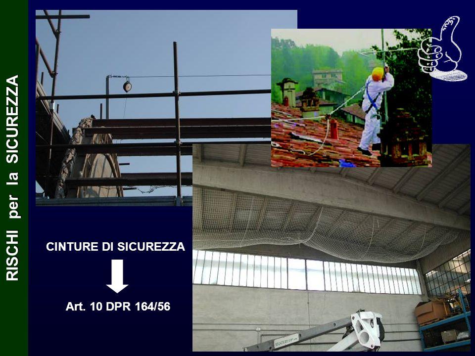 CINTURE DI SICUREZZA Art. 10 DPR 164/56 RISCHI per la SICUREZZA