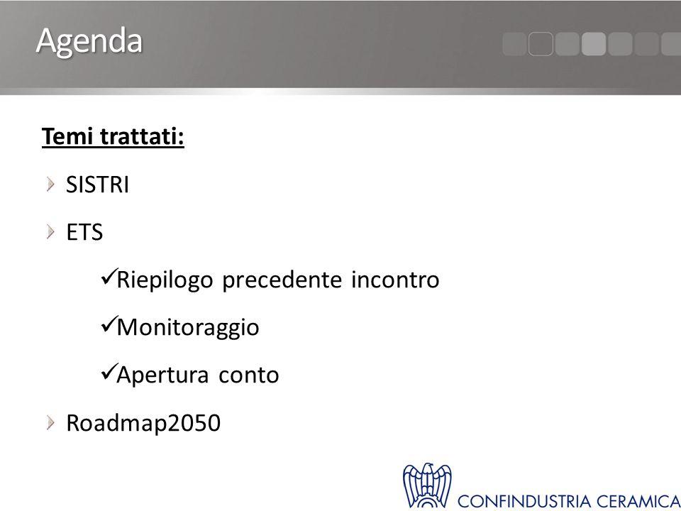 Agenda Temi trattati: SISTRI ETS Riepilogo precedente incontro Monitoraggio Apertura conto Roadmap2050