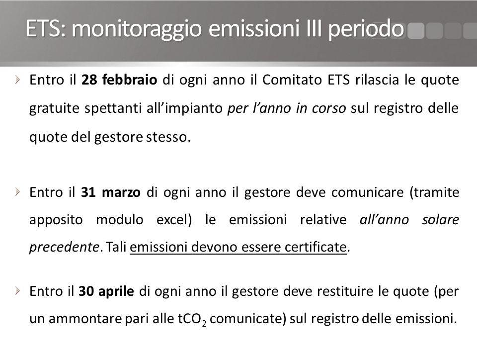 ETS: monitoraggio emissioni III periodo Entro il 28 febbraio di ogni anno il Comitato ETS rilascia le quote gratuite spettanti allimpianto per lanno in corso sul registro delle quote del gestore stesso.