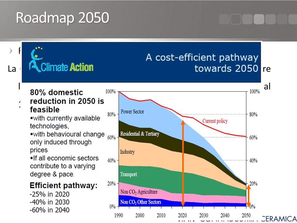 Roadmap 2050 La Commissione Europea vuole prefiggersi lobiettivo di ridurre le emissioni di gas climalteranti (GHG) del 80-95% rispetto al 1990 entro il 2050.