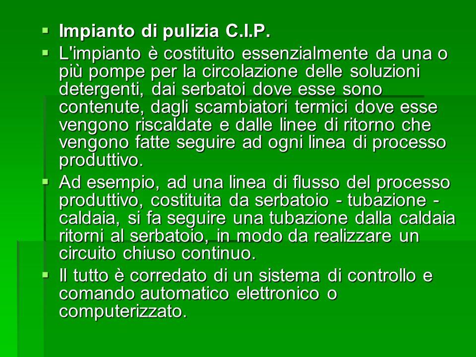 Impianto di pulizia C.I.P. Impianto di pulizia C.I.P. L'impianto è costituito essenzialmente da una o più pompe per la circolazione delle soluzioni de