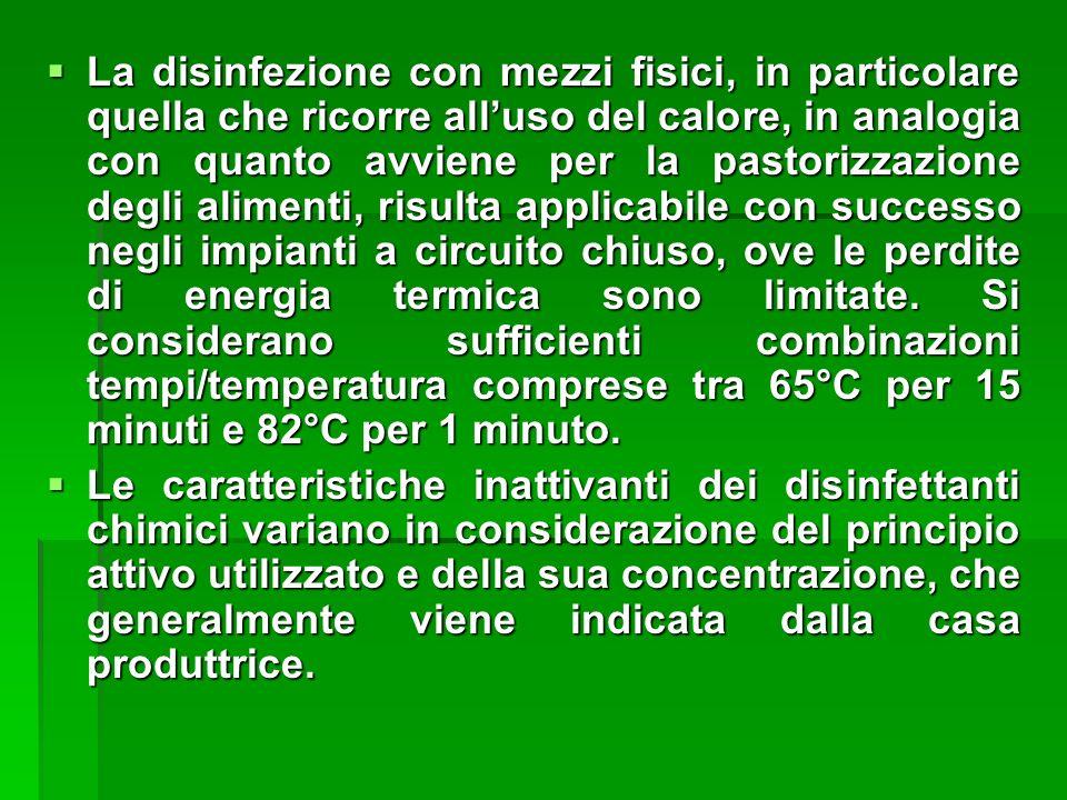 La disinfezione con mezzi fisici, in particolare quella che ricorre alluso del calore, in analogia con quanto avviene per la pastorizzazione degli ali