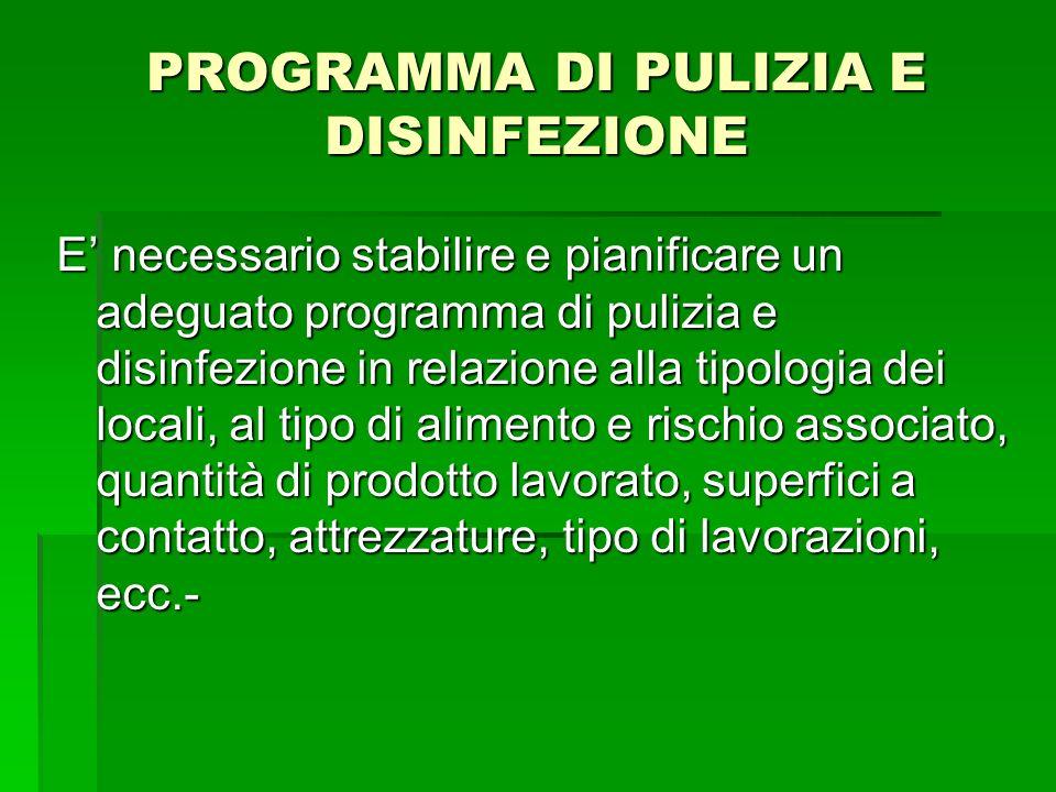 PROGRAMMA DI PULIZIA E DISINFEZIONE E necessario stabilire e pianificare un adeguato programma di pulizia e disinfezione in relazione alla tipologia d